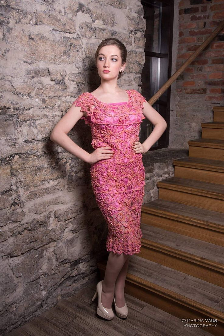 "Pink Crochet Evening Dress ""Jumala roos"" Bohemian Dress Floor Length Gown Hand Crocheted Dress by JBStuudio on Etsy"