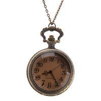 Modelo Retro de bronce cuarzo reloj de bolsillo colgante suéter cadena collar de destino