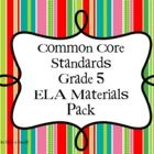 "This pack has everything you need to organize your Grade 5 ELA Common Core Instruction.  You get   - Large ""I Can Statement"" posters {the standards ..."
