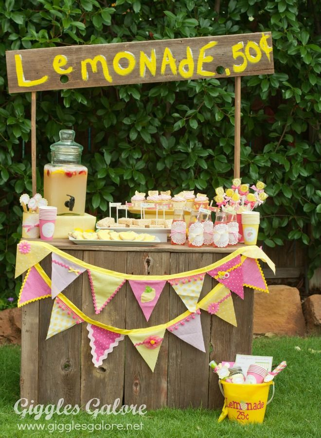 Pink and Yellow Lemonade Stand Giggles Galore-love the pennants, treats, doilies etc.
