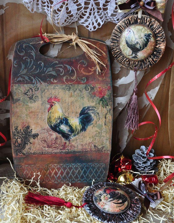 """Купить Доски -панно """" Год Петуха"""" - комбинированный, петух, год петуха, кантри, кантри стиль"""