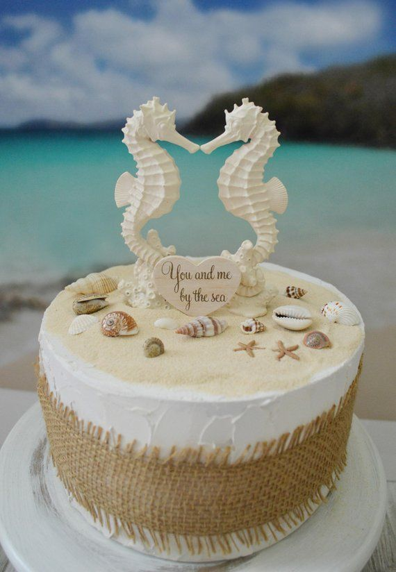 Whether You Are Planning A Beach Wedding Or Just Love Seahorses This Is A Great Topper For You These Beach Cake Topper Beach Wedding Cake Themed Wedding Cakes