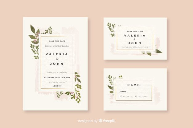 Download Watercolor Wedding Stationery Template Collection For