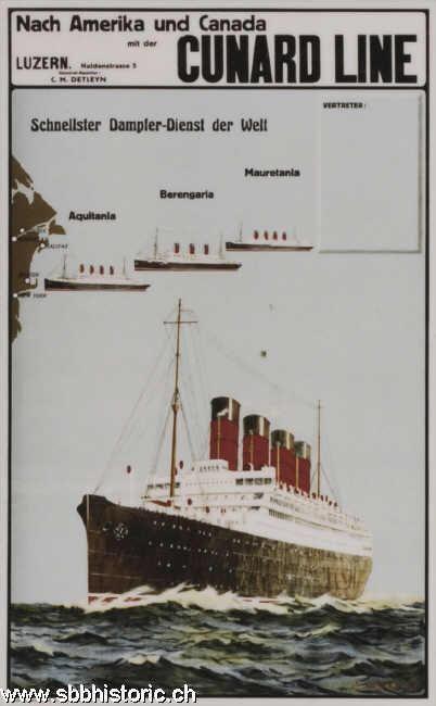 Cunard Line - Nach Amerika und Canada mit der Cunard Line. Schnellster Dampfer-Dienst der - Welt