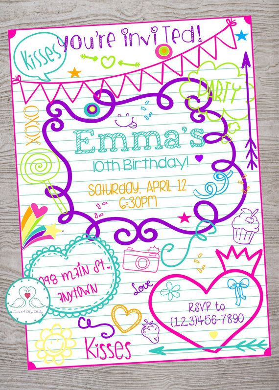 doodle tween teen kid birthday invitation  printable
