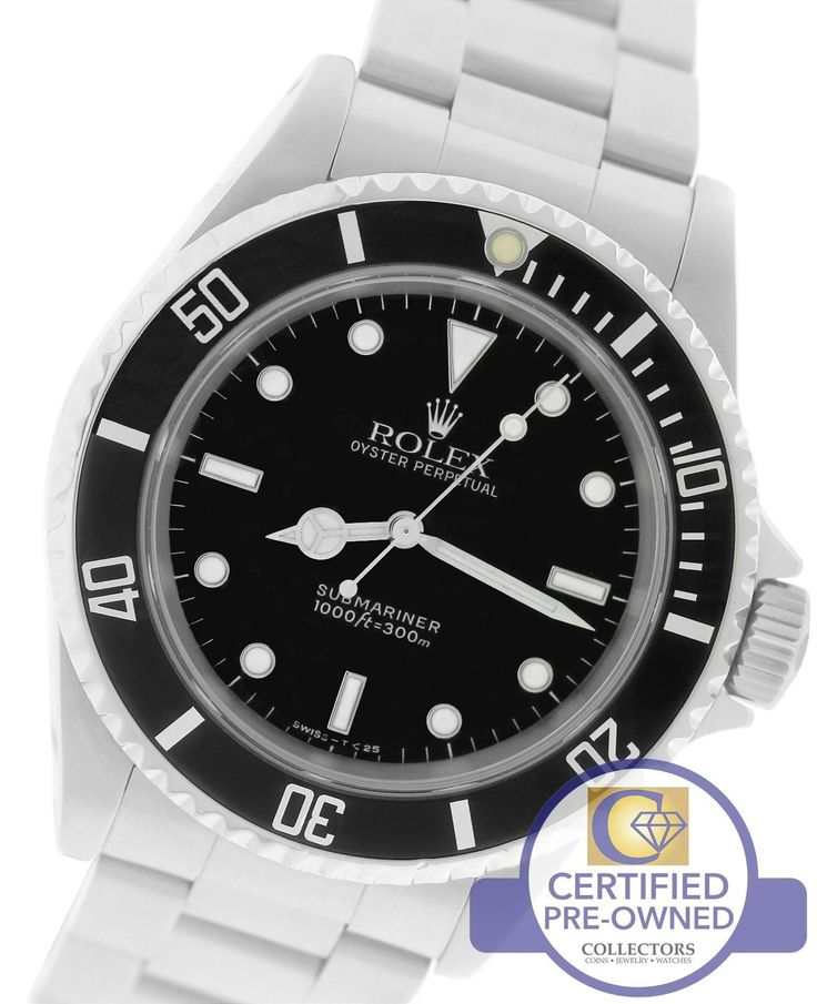 MINT Men's Rolex Submariner No-Date 14060 Stainless Steel Black Dive 40mm Watch