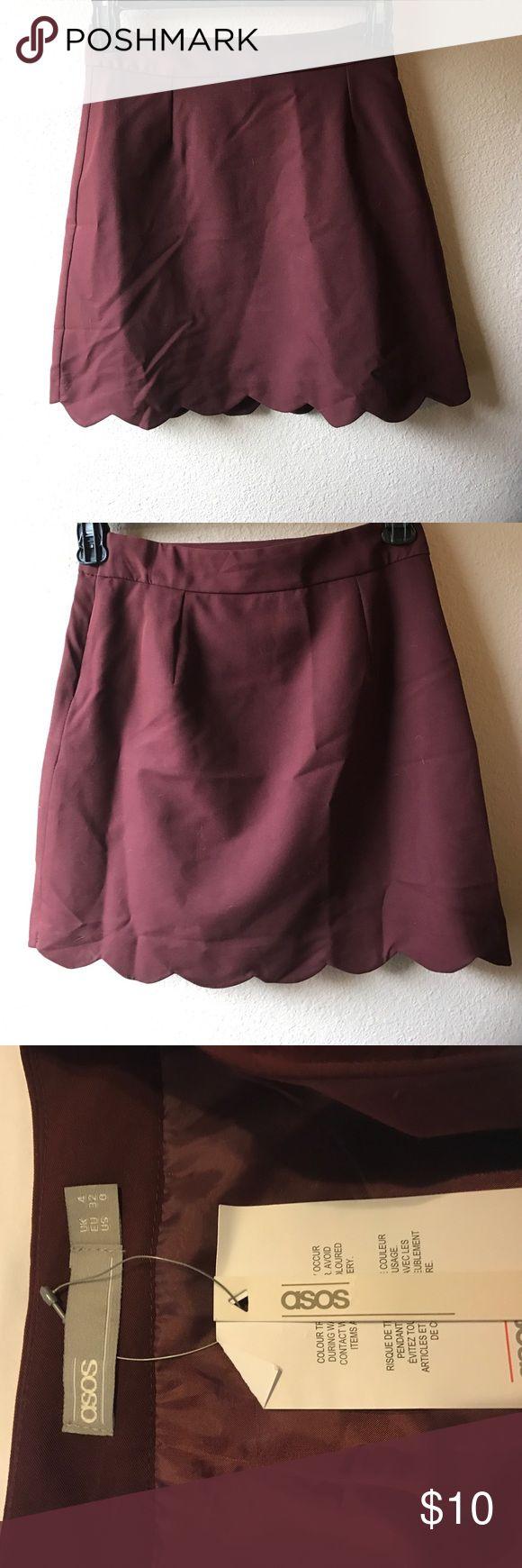 NWT ASOS maroon scalloped mini skirt NWT ASOS maroon scalloped skirt. Size 0. ASOS Skirts Mini