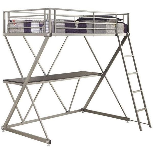 Coaster Twin Workstation Loft Bunk Bed with Desk ($498) ❤ liked on Polyvore featuring home, children's room, children's furniture and grey