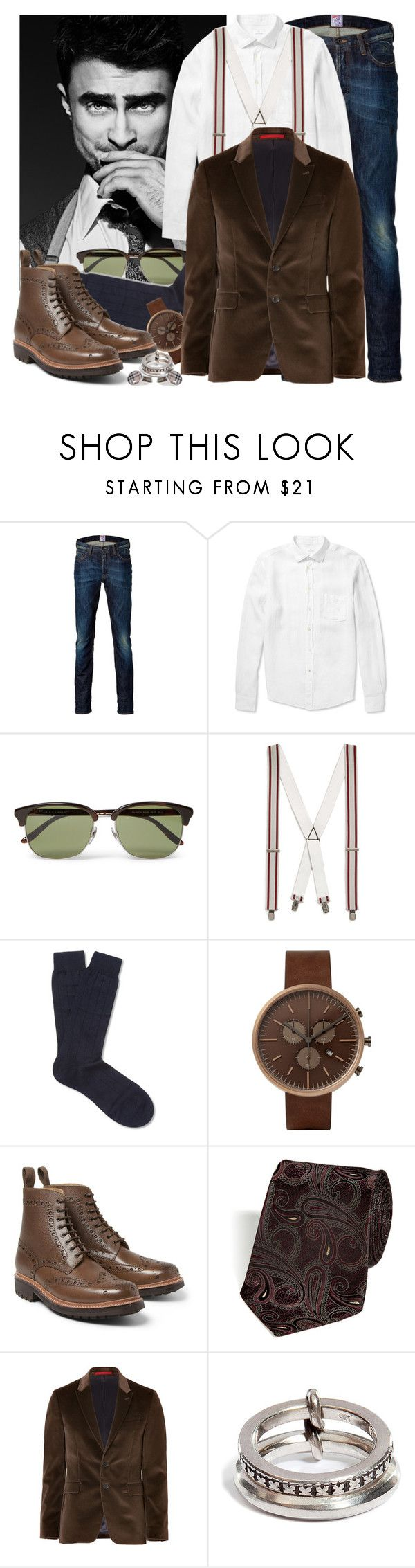 """""""DanRad inspired look_10.23"""" by rosalol ❤ liked on Polyvore featuring Radcliffe, PRPS, Hartford, Gucci, Topman, Pantherella, Uniform Wares, Grenson, Etro and PS Paul Smith"""