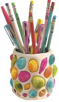 This seashell pencil holder is a fun yet extremely simple craft using a tin can and air drying clay. Colorful!!!