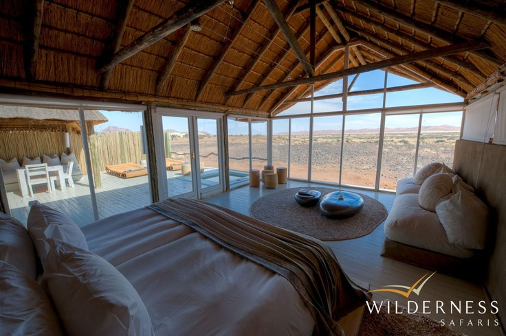 Little Kulala - Pure linens, cottons and mohair dyed with natural vegetable dyes all make for a very organic camp which takes its inspiration from its surroundings, notably from the magnificent Dead Vlei in the middle of Sossusvlei. #Safari #Africa #Namibia #WildernessSafaris