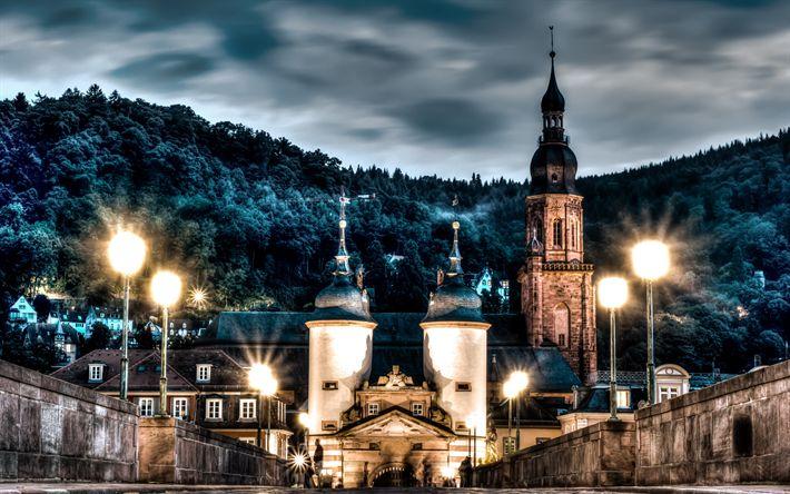 Lataa kuva Heidelbergin Linna, silta, illalla, HDR, Heidelberg, Saksa