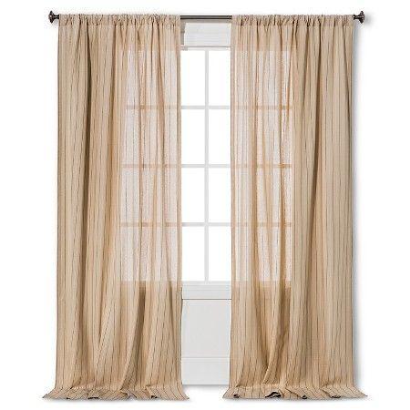 "Pinstripe Curtain Panel Almond Cream (54""x95"") - Nate Berkus™ : Target"