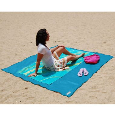 How great for the beach...The Sandless Beach Mat   Developed for military use, this is the beach mat that is impossible to cover with sand. Used in military applications to contain sand and dust when helicopters land and take off, the mat is made from two layers of patented woven polyurethane that instantly filter sand to the beach as soon as it falls on its surface.