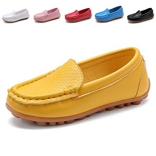 cool L-RUN Boy's Girl's Loafer Shoes Online Slip On Split Leather Oxford Dress Sneakers Yellow 6.5 M US Infant