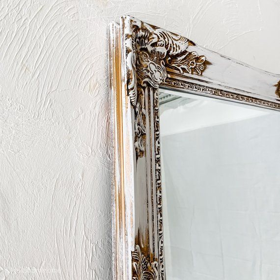 Farmhouse Mirror Wedding Gift White Gold Distressed Mirror Shabby Chic Mirror Bathroom Wall Mirror Vanity Mirror Leaning Mirror Gold Framed Mirror Mirror Distressed Mirror