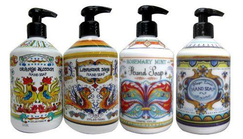 Home and Body Company Deruta Hand Soap Set (Lavender Sage, Orange Blossom, Rosemay Mint, Meyer Lemon) by Home and Body Company. $44.99. Gentle and moisturizing formula. Softens hands. Made in USA. Perfect for gifting. Deruta hand soap is inspired by a type of Italian pottery that is hand painted with bright colors. Deruta cermaics later became a fine art from the renaissance era. These beautiful hand soaps come in 4 scents, orange blossom, lavendar sage, rosemary mi...