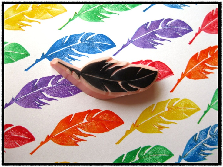 Feather Hand Carved Rubber Stamp by SweetSpotStampShop on Etsy