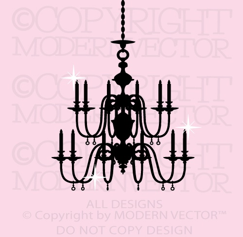 Chandelier paris theme vinyl wall decal designs decor for Ebay dining room wall art
