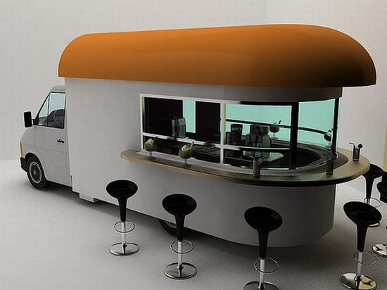 Coffee shop on wheels!Designed by Daniel Milchtein, this Mobile Coffee Shop is as cool as a wine bar on wheels. The whole coffee shop is fitted inside the truck. It carries coffee machines that hopefully make cappuccino, latte, macchiato or ristretto at the touch of a button. The bar stools can be taken out anywhere you want to set up your coffee shop.