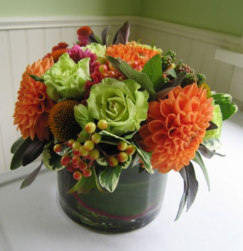 super green roses, dahlias, echinacea pods, fuchsia cockscomb, sage, vibernum berries, and unripe blackberries