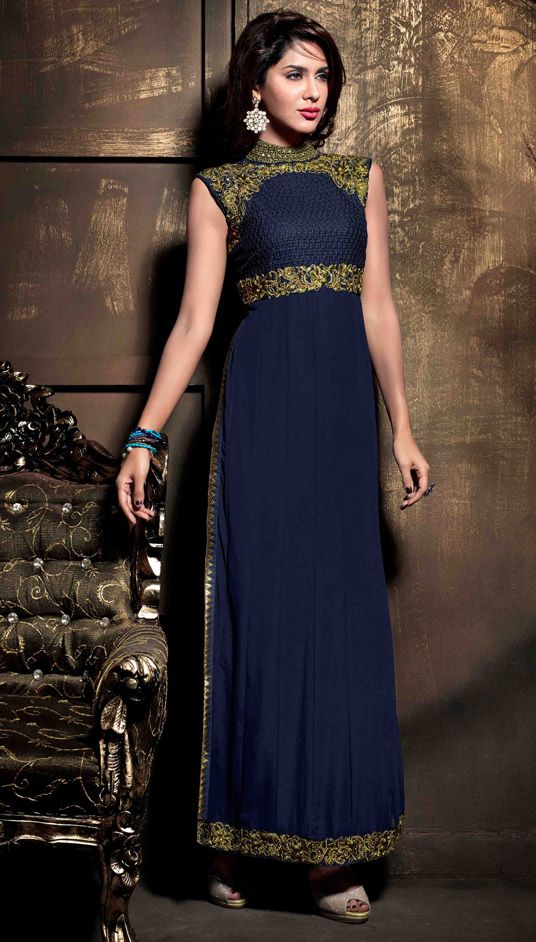 USD 63.21 Navy Blue Georgette Pakistani Style Suit 47889