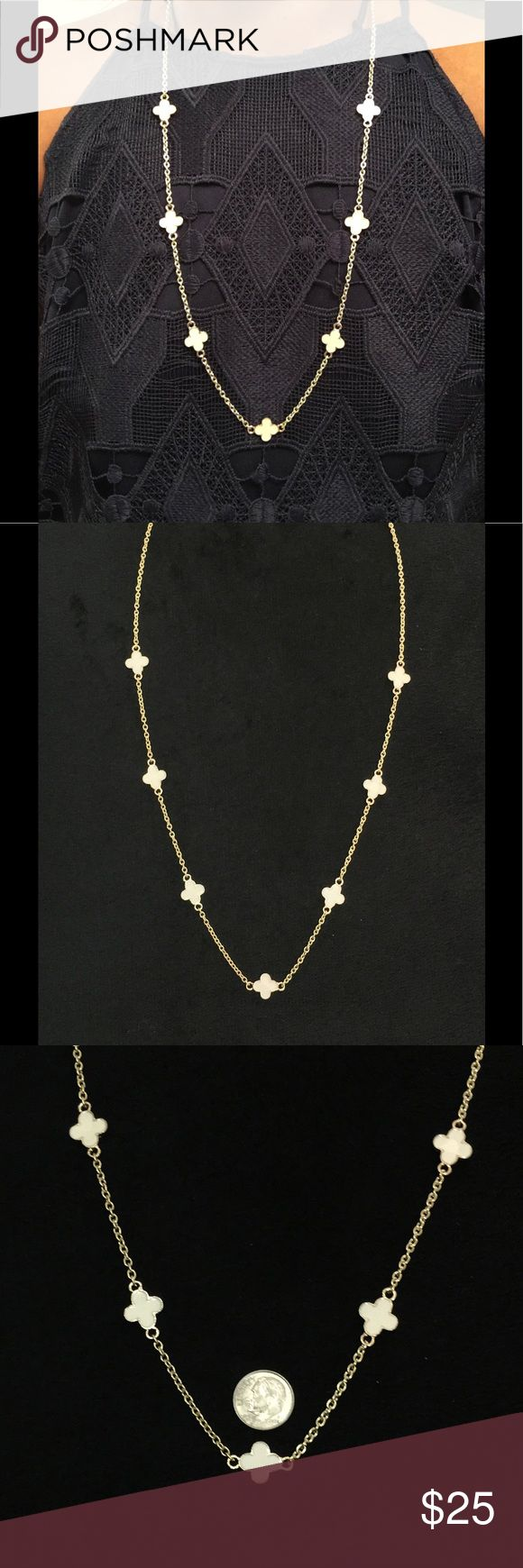 """Van Cleef & Arpels Inspired 4 Leaf Clover Necklace Handmade.   Van Cleef & Arpels Inspired necklace with 7 four leaf clover charms in ivory and framed in gold..  18""""-20"""" drop or a total length of 46""""-40"""". bargainzgalore Jewelry Necklaces"""