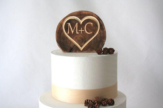 Wedding Rustic Wood Cake Topper  Monogram wood by TimberAndStitch, $15.00