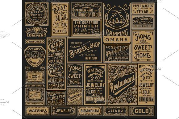 Mega pack of old advertisement  by OneVectorStock on @creativemarket