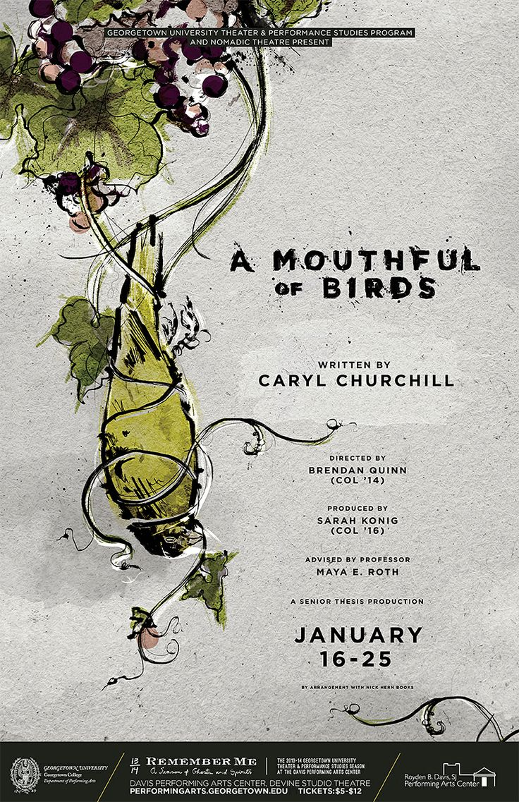Poster design near me - Design Army Georgetown University Theater A Mouthful Of Birds Poster And Illustration
