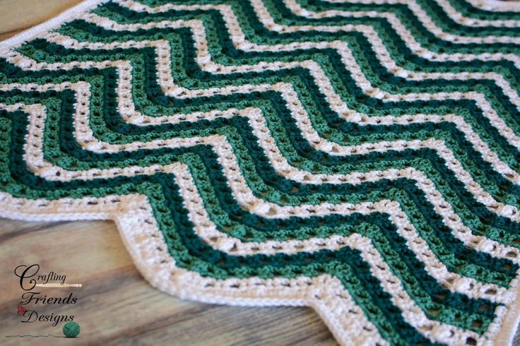 Sea Breeze Chevron Afghan   Crochet Pattern by Crafting Friends Designs           Skill Level:  Easy   Materials:  Size K crochet hook   ...