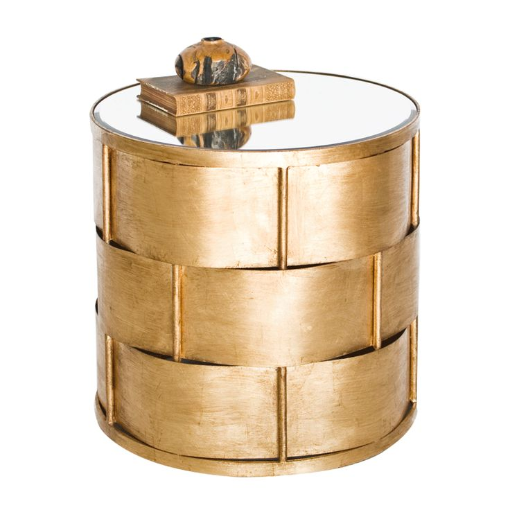 """This side table takes the simple idea of a basket weave to a new level with gold leafed metal and a beveled mirror top. 20"""" Dia 20"""" H"""