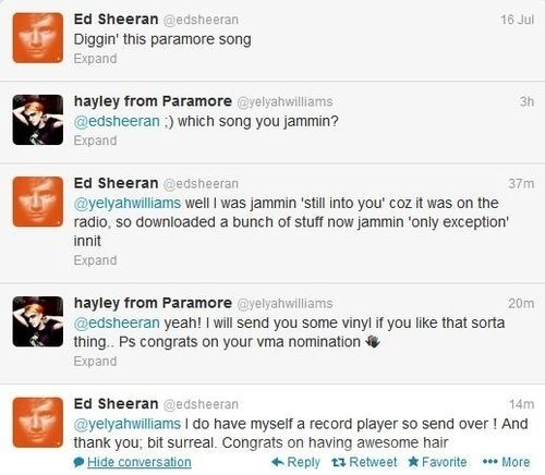 And he's a Paramore fan. | 21 Cute Facts You Really Ought To Know About Ed Sheeran