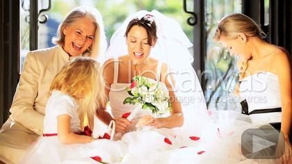 Caucasian family group brunette bride female relations and cute bridesmaid home wedding HD Stock Footage Clip. Medium shot. 2012-08-21.