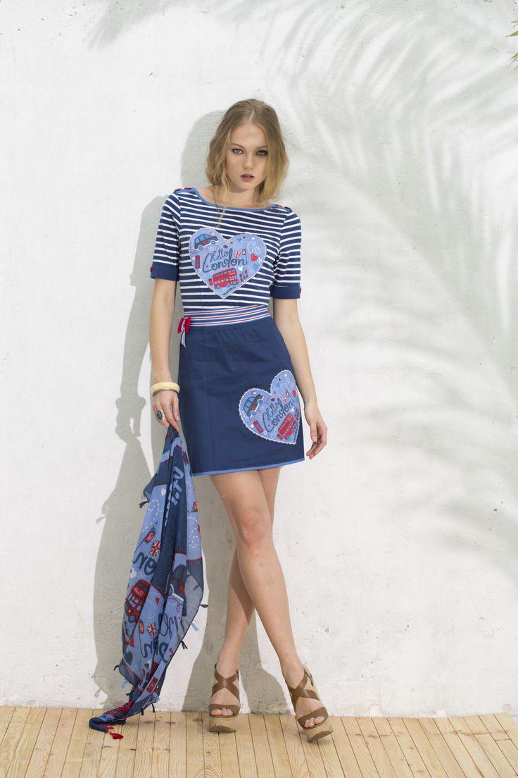 Conjunto de Camiseta, Falda y Pashmina Barrios #navystyle #summermust #indispensableverano #estilomarinero