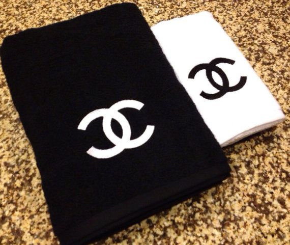 I don't care if it's fake...this is awesome. Chanel Inspired Black and White Embroidered Bathroom Towel Set on Etsy, $34.00