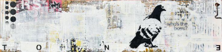 """WHO'S THE BOSS?Technique mixte sur panneau de bois. 26 x 110 cm / Mixed media on canvas. 10 1/4'' x 43 1/4"""". Novembre  2014, november. Artiste-peintre: Tone. www.t-pakap.net"""