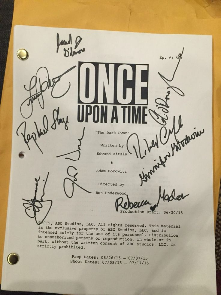 Awesome #Once S5 E1 #TheDarkSwan #Once S5 Fall premiere script signed by the…