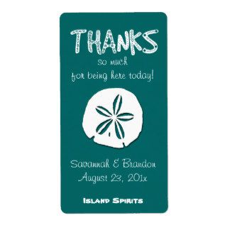Tropical Teal Sand Dollar Wedding Wine Label Shipping Label