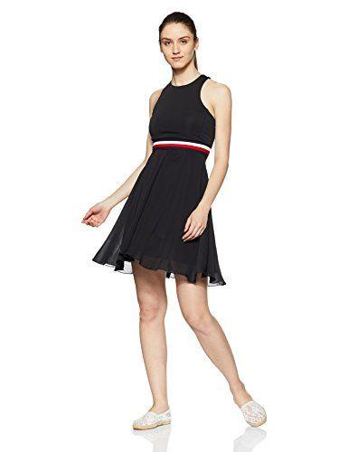 TOMMY HILFIGER Women's A-Line Knee-Long Dress (P8AWV109_6/Large_Black Beauty 4