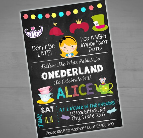 Alice in Wonderland Chalkboard Invitation - Onederland First Birthday Invite - Alice  - Printable or Printed - SHIPPING INCLUDED - 4x6