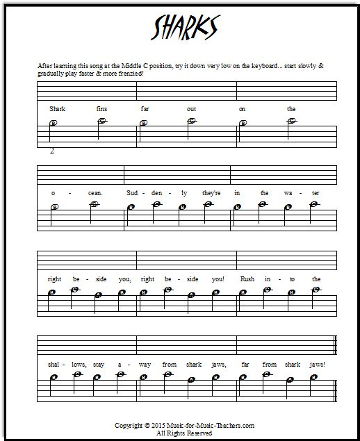 Jaws theme song with music note letters | Piano sheet ...