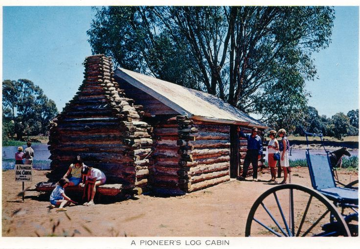 Among the buildings relocated to Pioneer Settlement was this Canadian style cabin using complete tree trunks for walls, rather than the more traditional shorter lengths. It would have been a very early building for there to be sufficient large trees nearby to build in this fashion.
