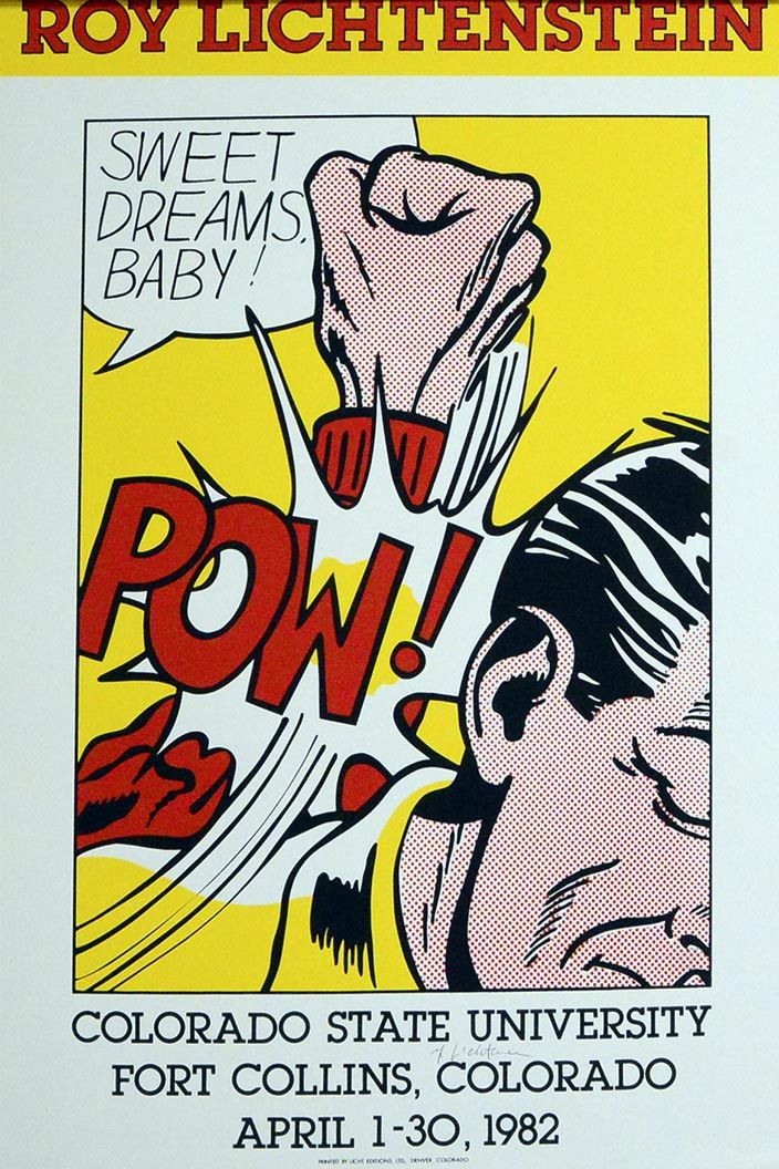 Roy Lichtenstein Sweet Dreams Baby POSTER Silkscreen hand signed in pencil Paper size: 34 x 24 inch (60.9 x 86.2 cm) Images Size: 24.1/2 x 17.3/4 inch (45 x 62.2 cm) very good condition exhibition han