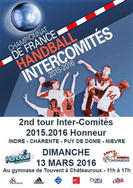 2nd tour Championnat de France des Inter-Comités Handball masculin - niveau Honneur, Châteauroux, Gymnase Touvent, Allée des Lauriers, Dimanche 13 Mars 2016, 11h00 > 17h00