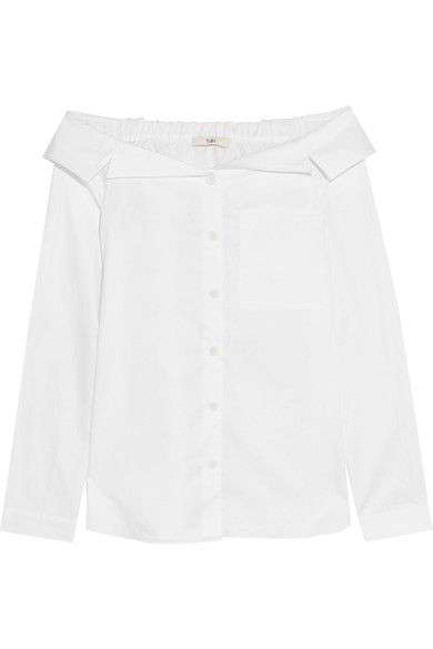 Tibi | Off-the-shoulder cotton-poplin shirt | NET-A-PORTER.COM