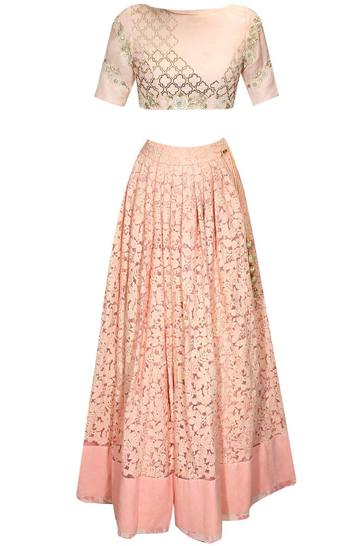 Pink moroccan rose embroidered lehenga set available only at Pernia's Pop Up Shop.