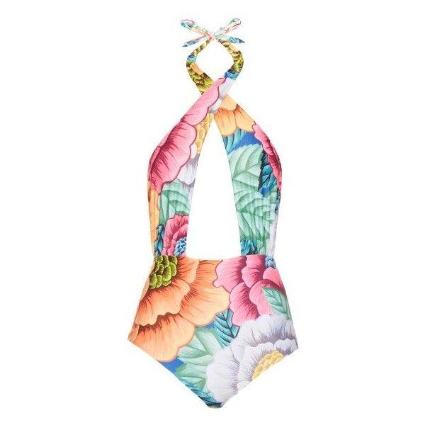 Mara Hoffman Floral-print cross-front swimsuit ($210) ❤ liked on Polyvore featuring swimwear, one-piece swimsuits, orange multi, orange swimsuit, halter swimsuit, swim suits, floral swimsuit and halter bathing suit