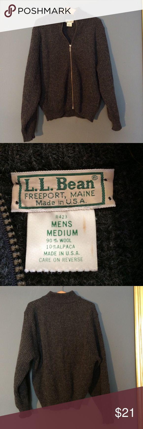 LL Bean men's Cardigan 90% Wool 10% Alpaca Size M LL Bean men's Cardigan 90% Wool 10% Alpaca Size M. Dark gray black in great shape L.L. Bean Sweaters Cardigan