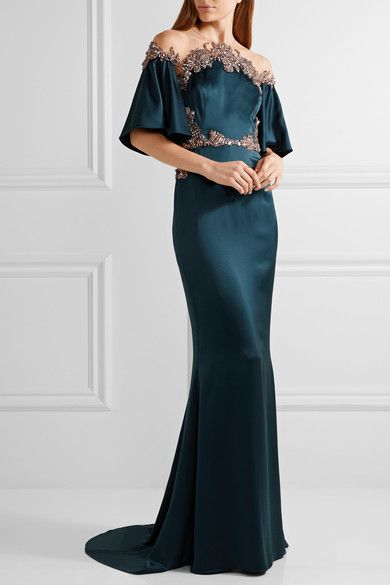 Marchesa - Embellished Tulle-trimmed Silk-satin Gown - Storm blue - US10